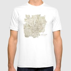 Jackson Mississippi watercolor city map White MEDIUM Mens Fitted Tee