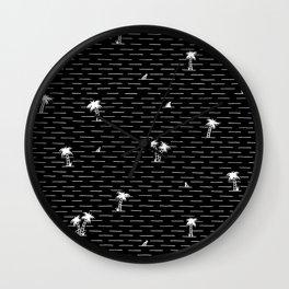 Palm Breeze Black Wall Clock