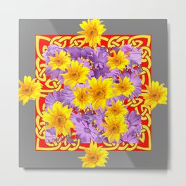 RED-GREY YELLOW-LILAC  FLOWERS CELTIC ART Metal Print