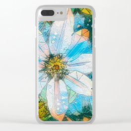 Clematis AI Blue Field Clear iPhone Case