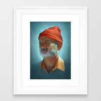 steve zissou Framed Art Prints featuring Steve Zissou by Kate O'Hara Illustration