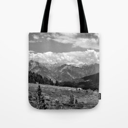 panorama cloudy alps serfaus fiss ladis tyrol austria europe black white Tote Bag