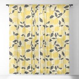 Seamless Citrus Pattern / Lemons Sheer Curtain