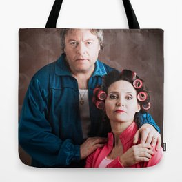 dingy couple family portrait. Tote Bag