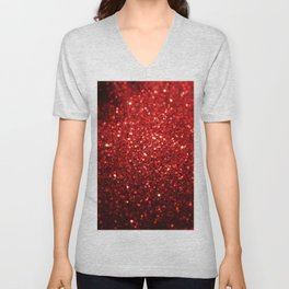 Bright Red Glitter Bling Unisex V-Neck