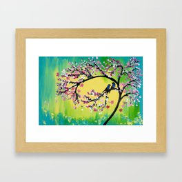 Green With Pink Blossoms Framed Art Print