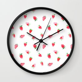 Baby strawberries || watercolor Wall Clock