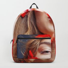 Holiday Christmas Model Woman Blonde Santa Hat Bro Backpack
