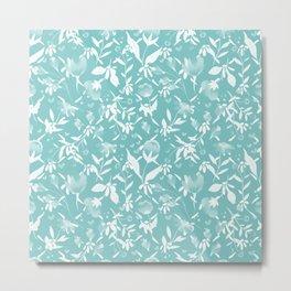 Colourscape Summer Floral Pattern Aqua Sky Metal Print