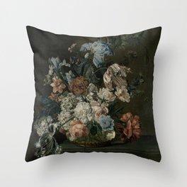 Cornelia Van Der Mijn - Still Life With Flowers Throw Pillow