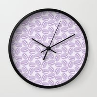 macaroon Wall Clocks featuring French Pattern - Violet Macaron - Purple Macaroon by French Macaron Art Print and Decor Store