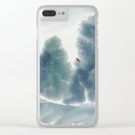Cardinal in Winter Clear iPhone Case