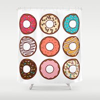 donuts Shower Curtains featuring Donuts by TinyBee