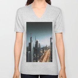 dubai city skyline Unisex V-Neck