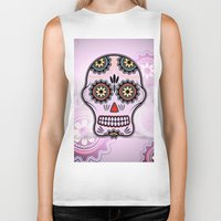 sugar skull Biker Tanks featuring Sugar skull by nicky2342