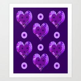 Violet heart buttons Art Print