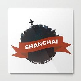 Shanghai China City Skyline Planet Metal Print