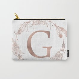 Letter G Rose Gold Pink Initial Monogram Carry-All Pouch