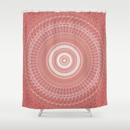 Pastel Peach White Boho Chic Mandala Shower Curtain