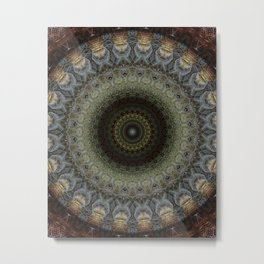 Detailed mandala in green and blue tones Metal Print