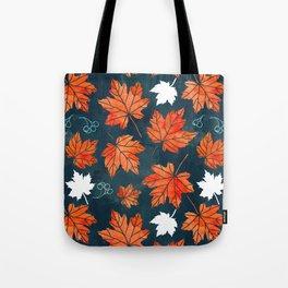 Autumn leaves against dark blue Tote Bag