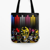 power rangers Tote Bags featuring Mighty Morphin Zombie Rangers by of the dead designs