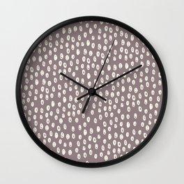 Mauve grayish pink white geometrical polka dots pattern Wall Clock
