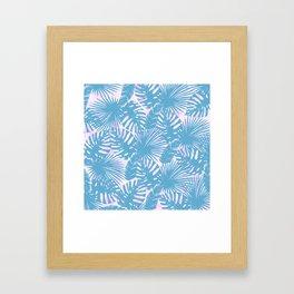 Modern teal pink watercolor tropical floral leaves Framed Art Print