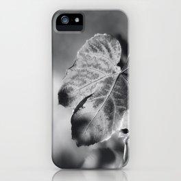 Autumn Grape Leaf in Black and White iPhone Case