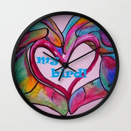 I Heart my BIRD! Wall Clock