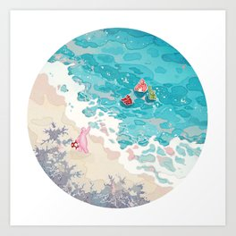Jelly and friends at beach Art Print