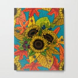 Autumn bouquet on blue Metal Print