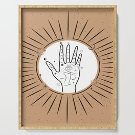 Palmistry concept with eye symbol, sun and moon phases illustration, magical universe art print Serving Tray