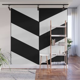 BLACK AND WHITE |DIAGONAL STRIPES| thick Wall Mural