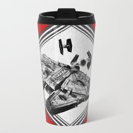 Millennium Falcon TIE Fighter Dotwork - Pointillism Art Travel Mug