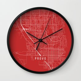 Provo Map, USA - Red Wall Clock