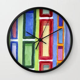 Narrow Frames in Vertical Rows Pattern Wall Clock