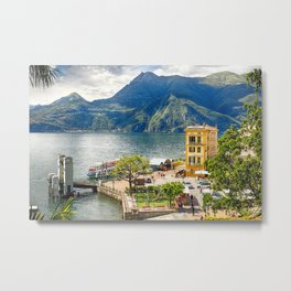 View of the Varenna Harbor on Lake Como, Lombardy, Italy Metal Print