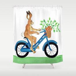Hansel the Hare Biking Shower Curtain