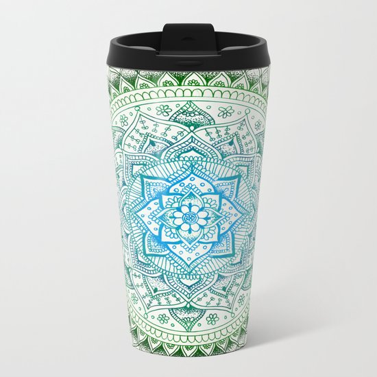 Forest Colours Flower Mandala Metal Travel Mug