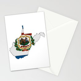 West Virginia Map with State Flag Stationery Cards