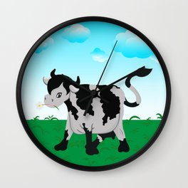 Cow on a meadow Wall Clock