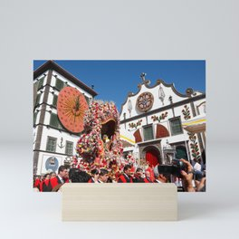 Religious festival in Azores Mini Art Print