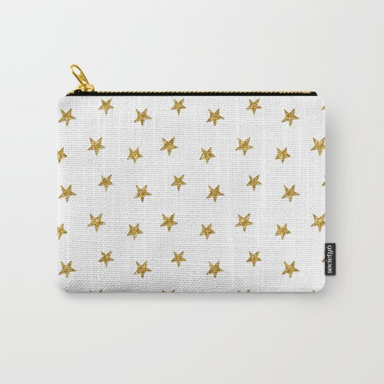 Merry christmas-Stars shining brightly-Gold glitter pattern Carry-All Pouch