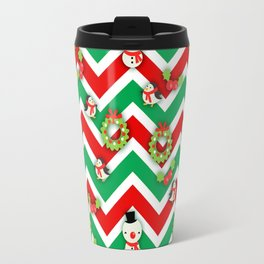 Festive Christmas Cartoons on Chevron Pattern Travel Mug