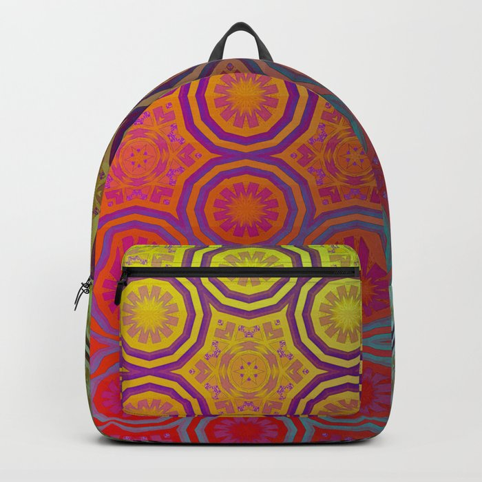 Pink, Purple, Yellow, and Orange Circles and Cogs Backpack