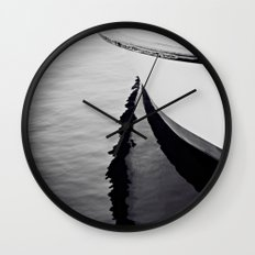 Reflections Black and White Nautical Boat Wall Clock