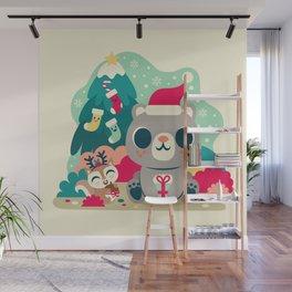 Holiday Woodland Bear / Cute Animal Wall Mural