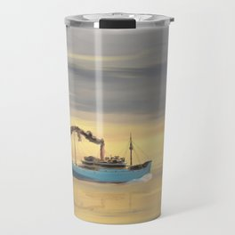 Steamship Freighter heading towards the ocean Travel Mug