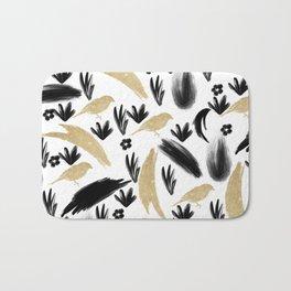 Black white watercolor gold glitter birds brushstrokes Bath Mat